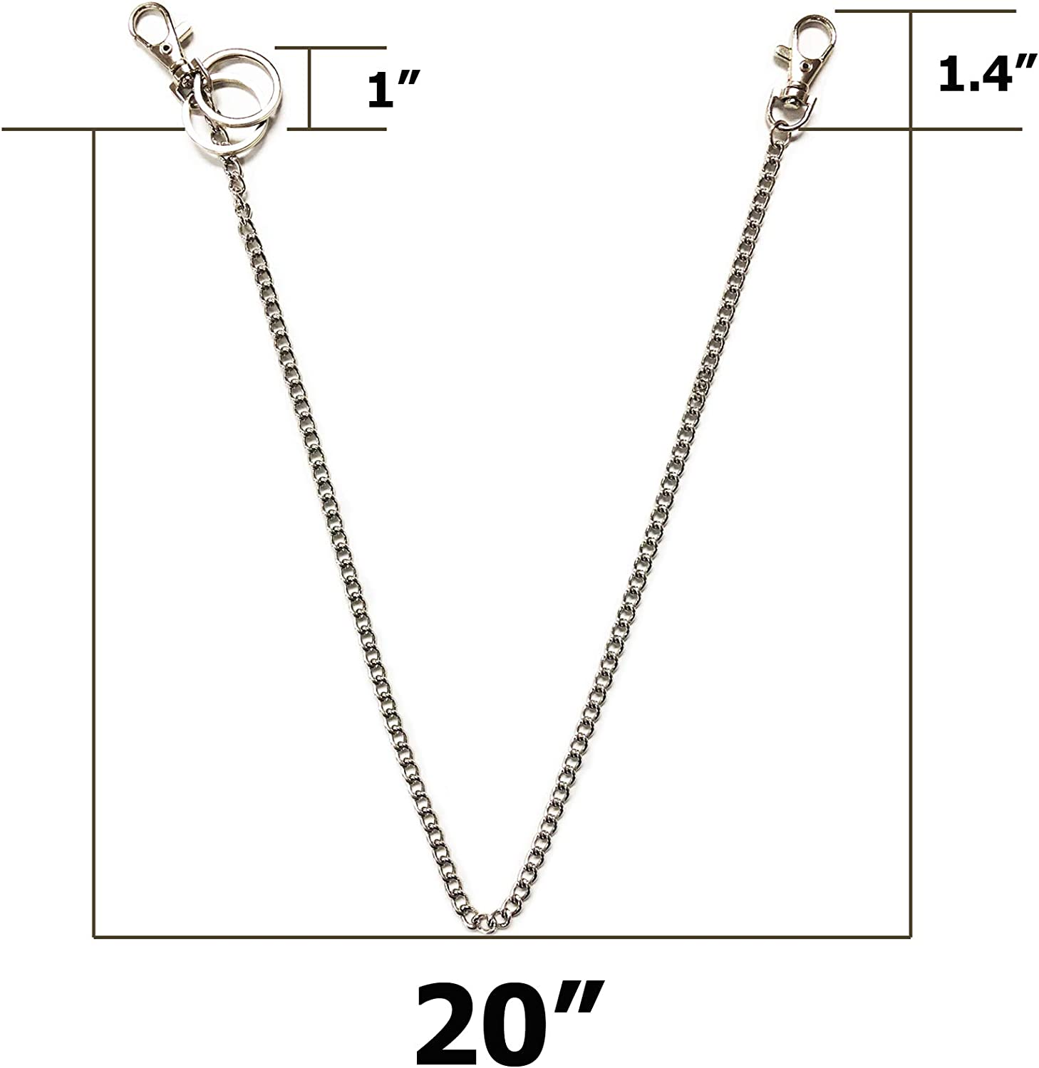 Handbag TSJ 20 Wallet Chain Keychain with Both Ends Lobster Clasps and Extra 2 Rings for Bag Purse Belt Loop Silver Jeans Pants