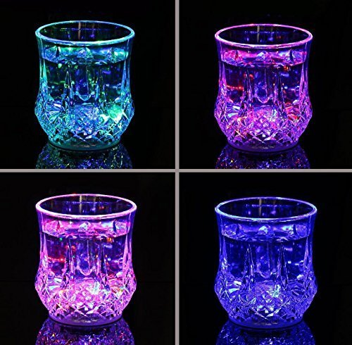 UChic 4PCS Automatic Water Activated Colorful Flashing LED Light Up Blinking Beer Wine Whisky Vodka Martini Glow Glasses Mugs for Bar Club Christmas Party Supplies(Color Randomly)