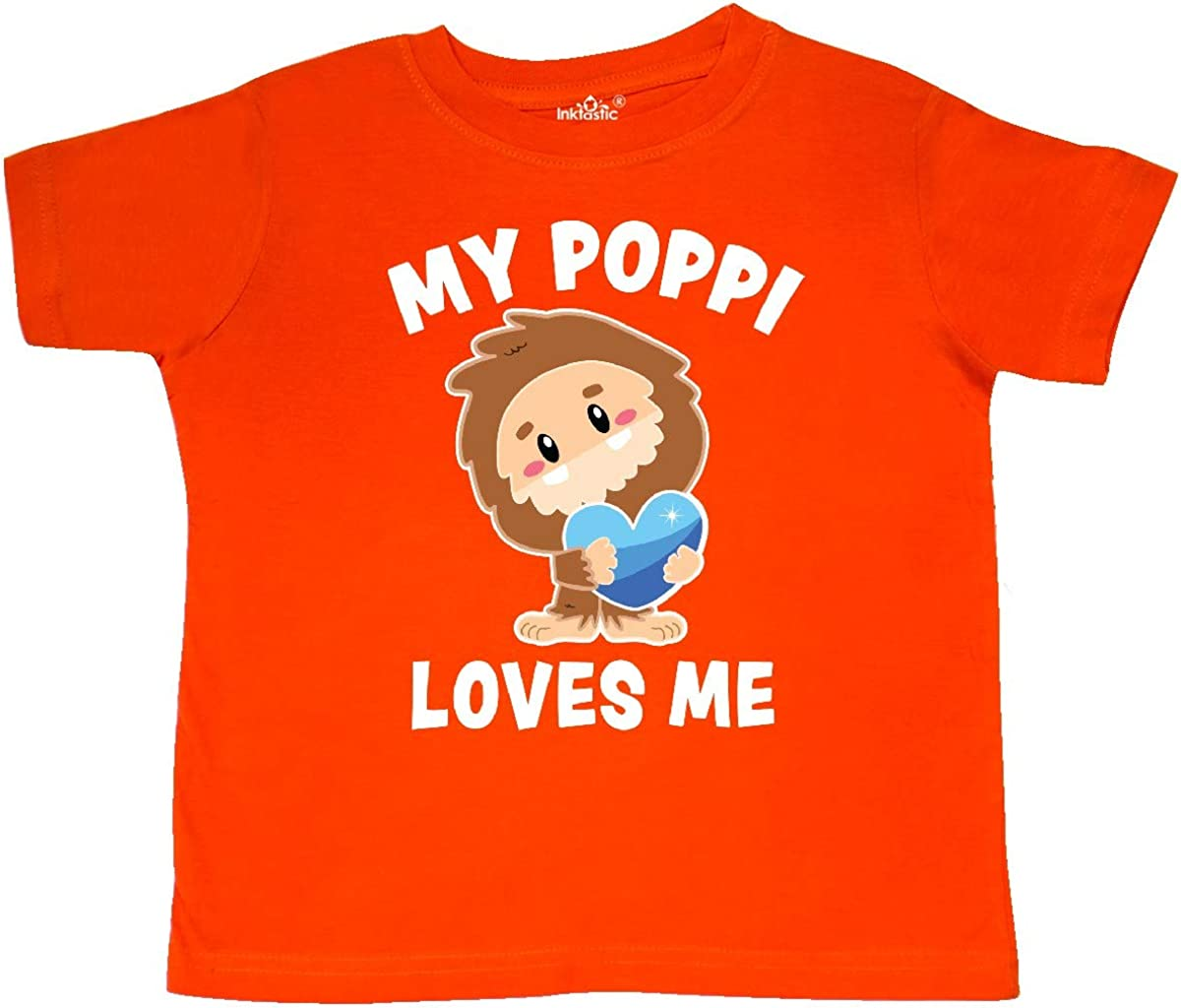inktastic Cute Bigfoot My Poppi Loves Me Toddler T-Shirt