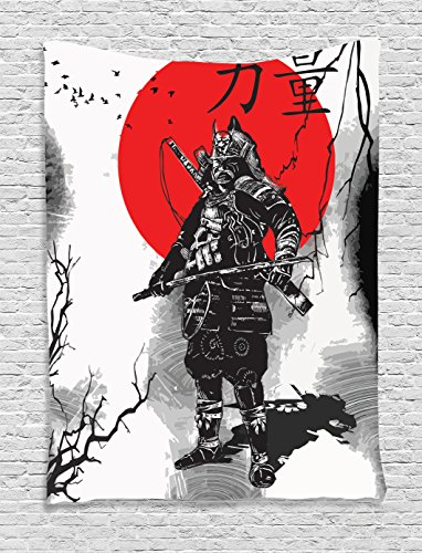 Japanese Decor Tapestry Wall Hanging by Ambesonne, Portrait of Skilled Educated Aristocrat Ancient Knight with His Weapon Man of War Image, Bedroom Living Room Dorm Decor, 60 x 80 Inches, Black Red