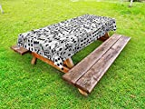 Lunarable Casino Outdoor Tablecloth, The Dices Close-up Image Abstract Monochromic Chaotic Crowded Gaming Houses, Decorative Washable Picnic Table Cloth, 58 X 84 Inches, Pale Grey Black