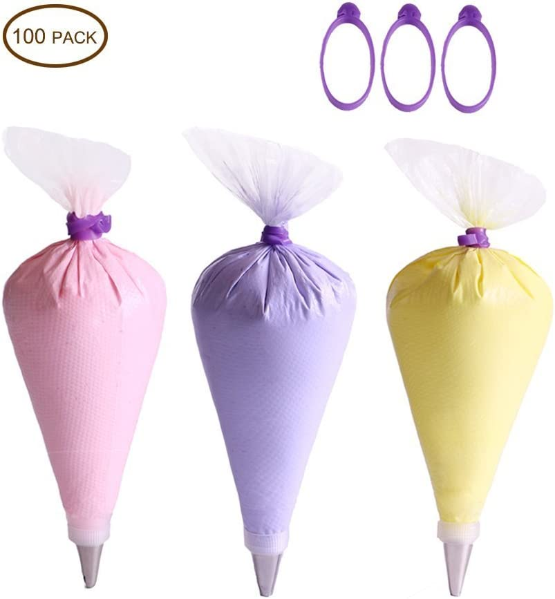 100 Pcs Plastic Disposable Icing Piping Pastry Bags Cake Decorating Tool T7F9