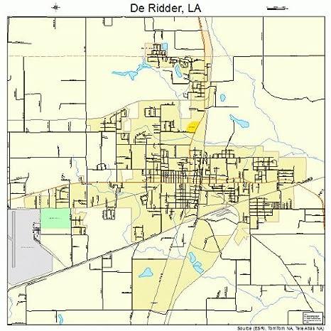 Amazon.com: Large Street & Road Map of De Ridder, Louisiana LA ... on