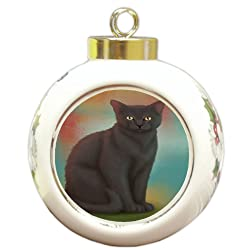 Doggie of the Day Black Cat Round Ceramic Ball Christmas Ornament