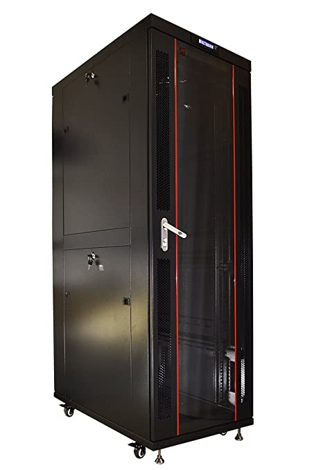 42U Floor Standing Server Rack Cabinet Glass Door (Temperature Control  Panel, 4 Fans, 4 Castors, 3 Brash Cable Entry-Free)
