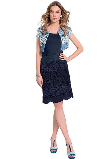 quality design 2be16 da73a EDAS Tavernello bolero in pizzo blu: Amazon.it: Abbigliamento