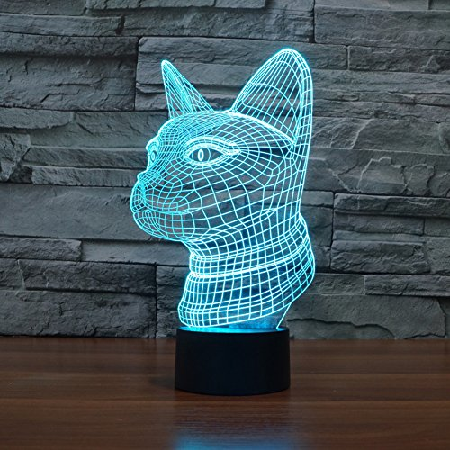 3D Illusion Lamp Gawell Cat Effect Night Light 7 Colors with Touch Switch USB Cable Nice Gift Home Office (Cat Skeleton For Sale)