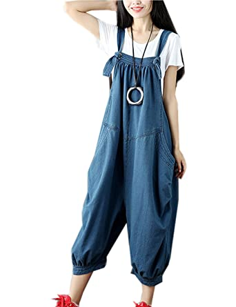 fcbdba450f32 Flygo Women s Loose Baggy Cotton Wide Leg Jumpsuits Rompers Overalls Harem  Pants (M (US