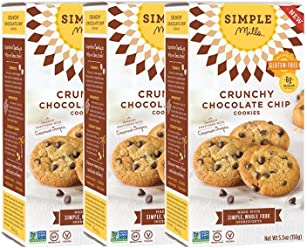 Simple Mills Crunchy Cookies, Chocolate Chip, Naturally Gluten Free, 5.5 oz, 3 count
