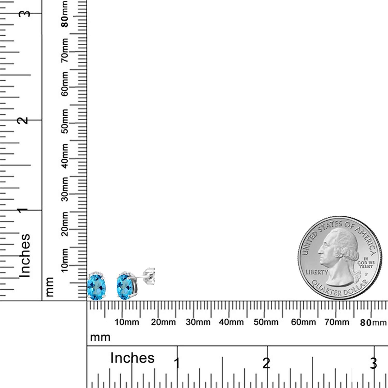 Gem Stone King 2.08 Ct Oval American Blue Mystic Topaz 925 Sterling Silver Earrings