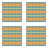 Ambesonne Southwestern Coaster Set of Four, Striped Backdrop with Geometric Tribal Motifs Native Mexican Cultural Heritage, Square Hardboard Gloss Coasters for Drinks, Multicolor