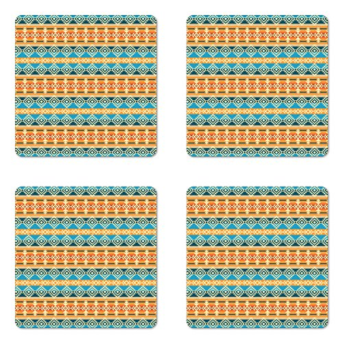 Ambesonne Southwestern Coaster Set of Four, Striped Backdrop with Geometric Tribal Motifs Native Mexican Cultural Heritage, Square Hardboard Gloss Coasters for Drinks, Multicolor by Ambesonne