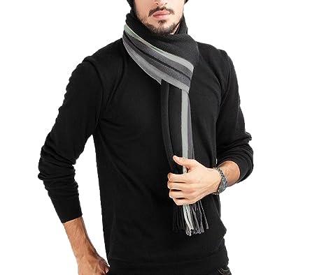 4cde44ff05d7 Écharpe Homme Stripes en Laine Acrylique Long Chaude Vogue en Automne Hiver  Souple Confortable Gris