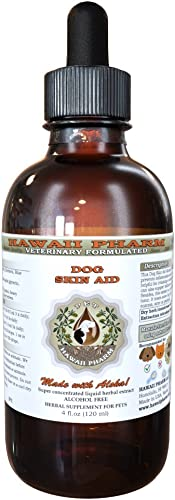 HawaiiPharm Dog Skin Aid, Veterinary Natural Alcohol-Free Liquid Extract, Pet Herbal Supplement