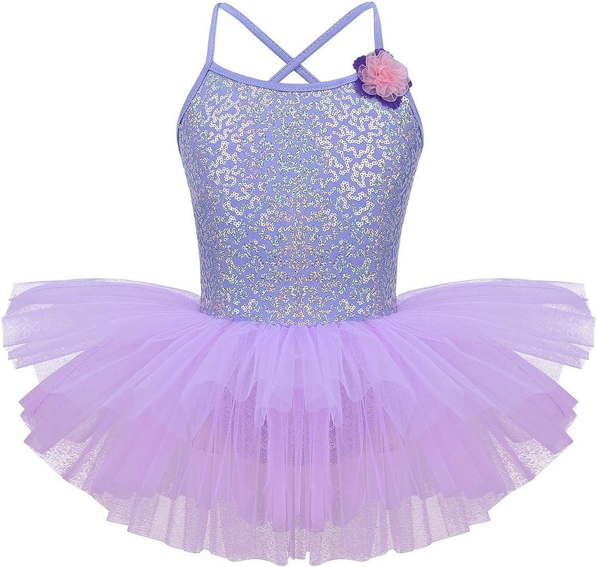 dPois Maillot de Ballet Niña Tutú Vestido Lentejuelas Flores Traje de Baile Leotardo con Falda Malla Gimnasia Disfraz Bailarina Hada Ropa de Ballet Actuacion Fiesta Navidad Carnaval