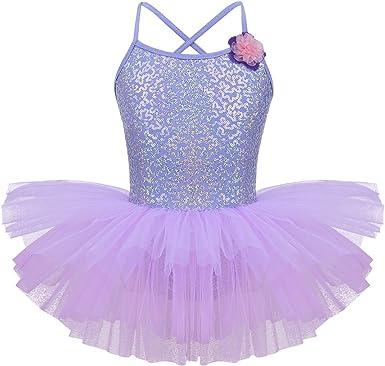 Freebily Vestito Pattinaggio Artistico Bambina con Paillettes Asimmetrico Ballerina Tutu Danza Classica Balletto Body da Ginnastica Artistica Abito da Ballo Latino