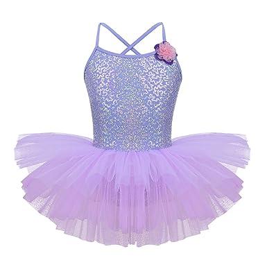 iiniim Maillot de Ballet Niña Tutú Vestido Lentejuelas Flores Traje de Baile Leotardo con Falda Malla Gimnasia Disfraz Bailarina Fiesta Navidad ...