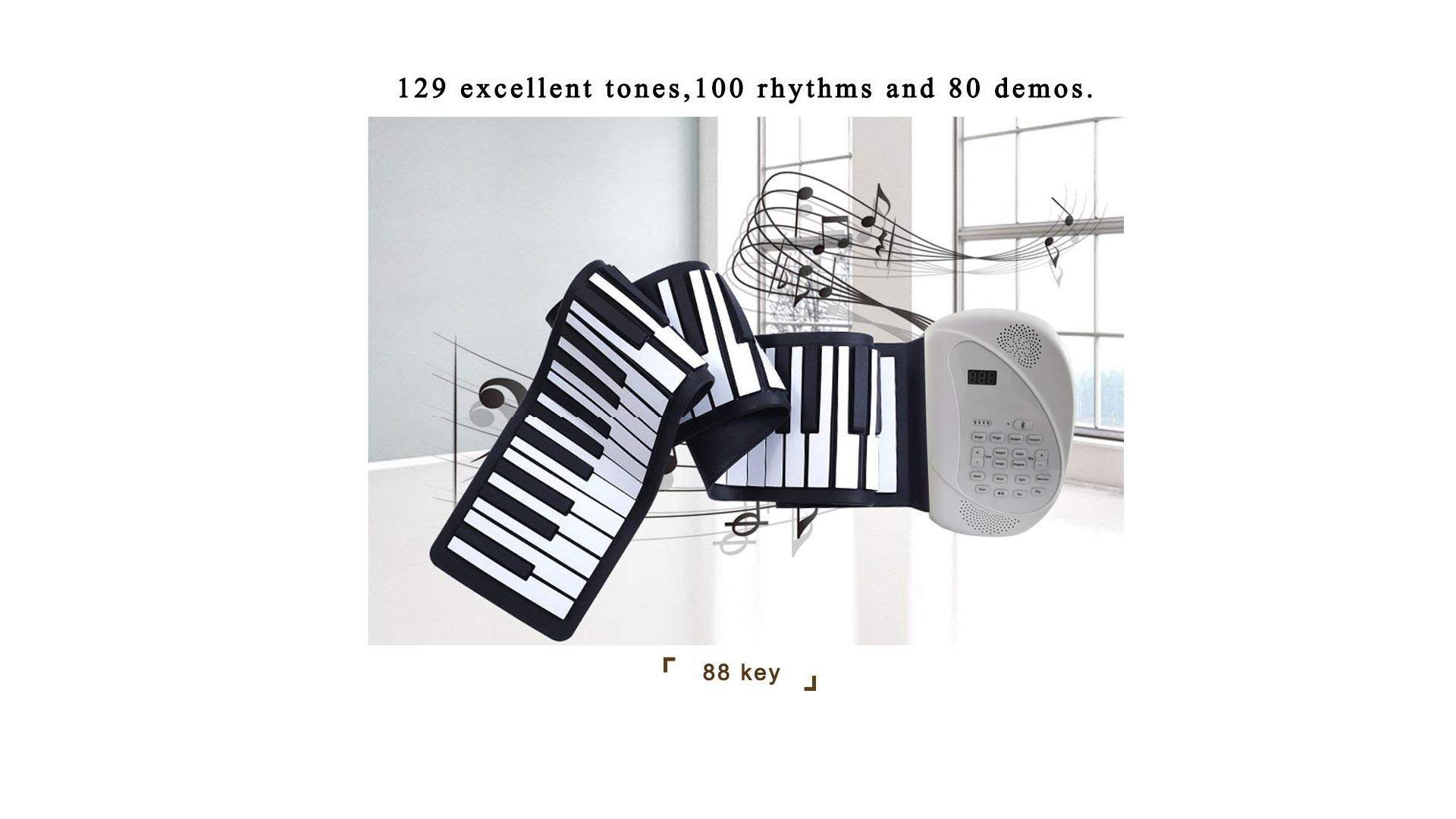 Eshenma Roll up Piano Portable Piano RO-A88 Key Flexible Soft Power Digital roll Keyboard Built-in Loud Dual Speaker can USB Charge AA Battery for Children Beginners (88-2S, White) 2019 Newest by Eshenma (Image #3)