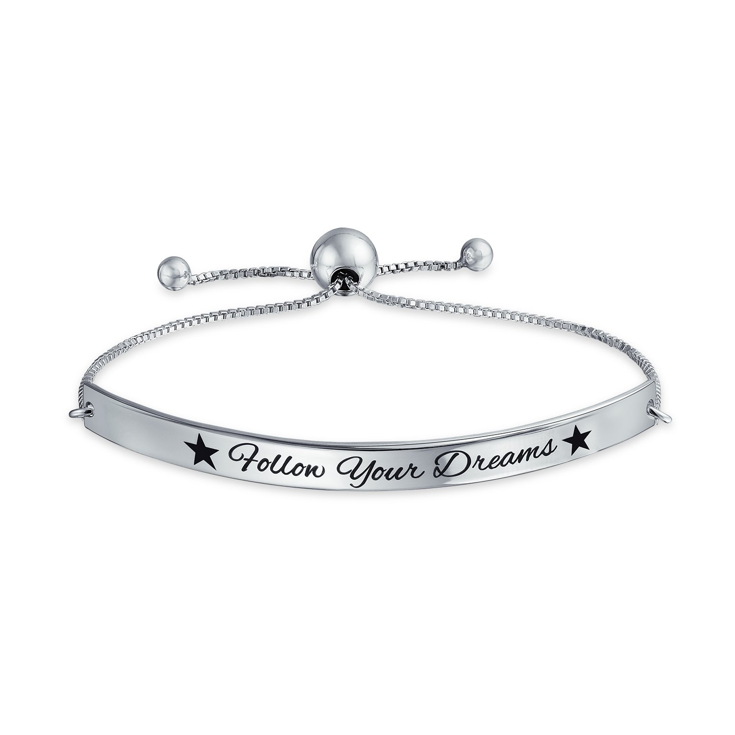 Follow Your Dreams Inspirational Message Bolo Bar Bracelet Adjustable 925 Silver 11 Inch by Bling Jewelry (Image #1)