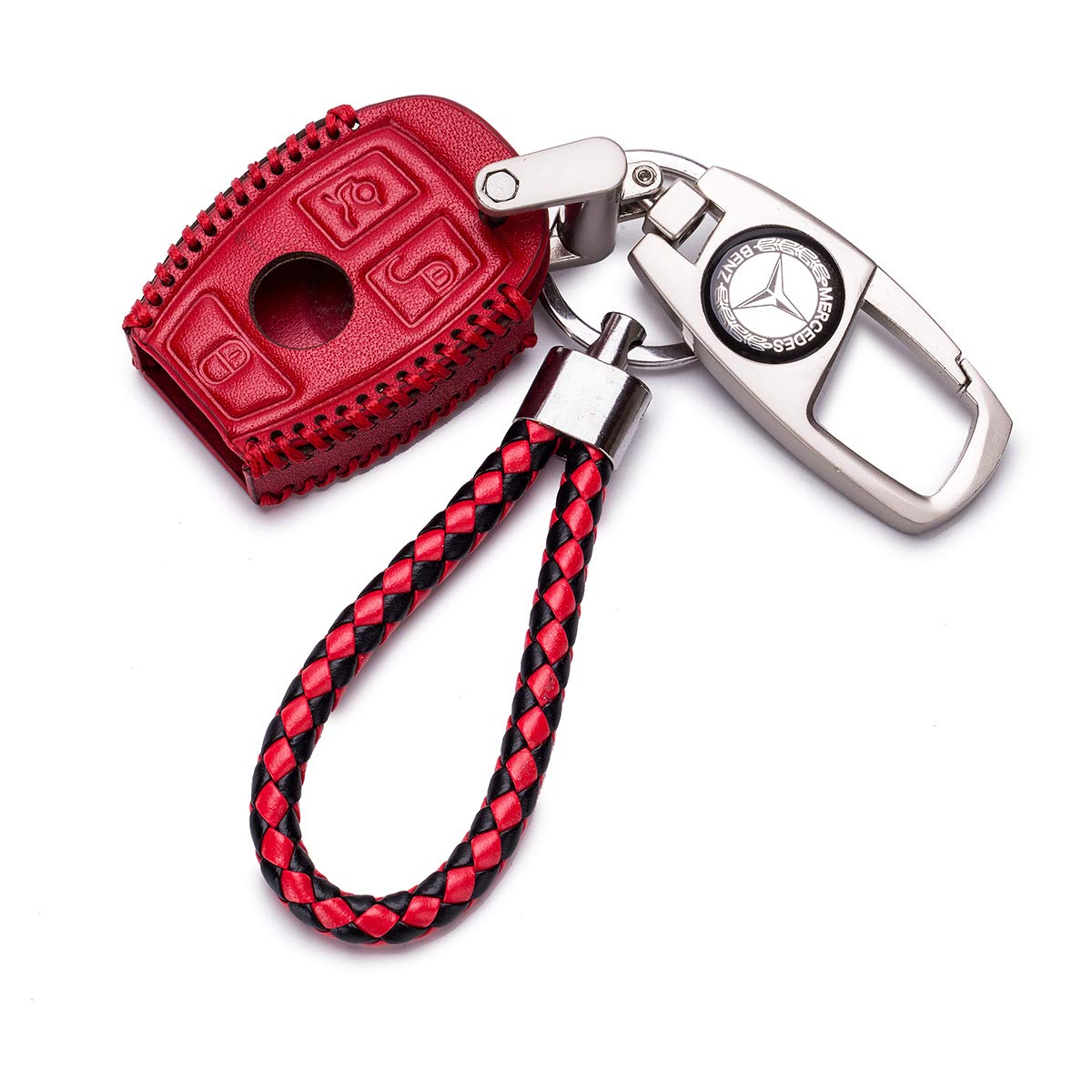 QZS Mercedes Benz Key Chain Fob Cover Shell Remote Case Bag for E C R CL GL SL CLK SLK(Benz Red) by QZS