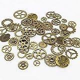 LolliBeads ® 90 Gram Antiqued Bronze Metal Skeleton Steampunk Watch Gear Cog Wheel Sets