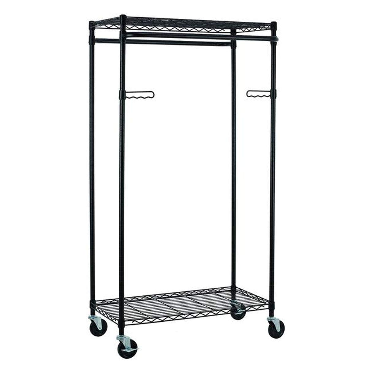 Tidyliving Heavy Duty Clothing Garment Rack Commercial Grade, Double Rod Rolling Clothes Organizer Adjustable Hanging Clothes Stand