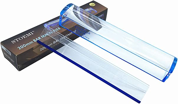 VISIONU 10 inch 5X Magnifier with Reading Tracking Line Measuring Scale Blue Raised Domed Bar Magnifying Glass