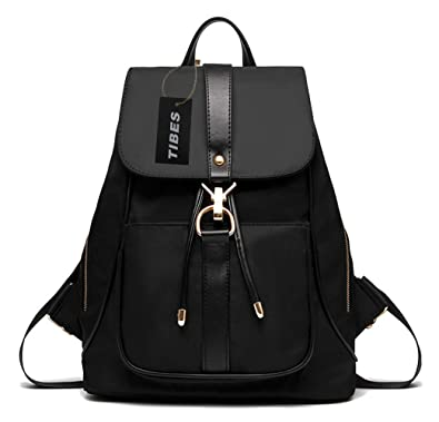 Tibes Waterproof Backpack Fashion Nylon Backpack for Girls Black ...