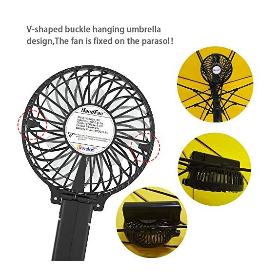 VersionTECH. Mini Handheld Fan 4 【Hanging Umbrella Design】: Unique design style, you can hang the fan above your umbrella or parasol.The design is ideal for outdoor crowds, and you don't have to worry about the outdoors even when the temperature is so high, because this fan can cool you down,It's a must-have for the summer. 【Folding And Multipurpose Design】: This fan can fold up to 180°.You can use this fan: ①hold it on your hand, ②put it on the table, ③hang it on the sun umbrella, ④clip it on other objects; If you don't know how to use it, please look at the picture or contact us. If you find better uses, you can also tell us. 【ENERGY SOURCE】: This fan is a USB port rechargeable model. It can also be powered directly by batteries, but you must remove the insulation from the battery compartment, otherwise it will not be recharged or used.USB cable can be charged with computer, mobile power, power bank and so on.