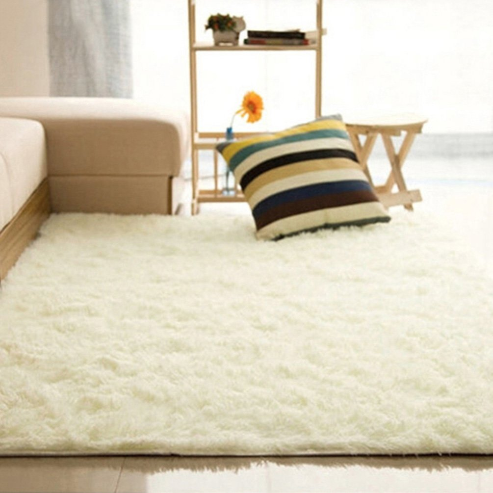 Home Living Room Bedroom Floor Carpet Mat Soft Anti-Skid Rectangle Area Rug - Beige 4060cm Ameesi