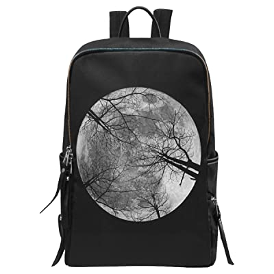InterestPrint Full Moon in the Night Sky School Casual Travel Backpack School Bag Travel Daypack