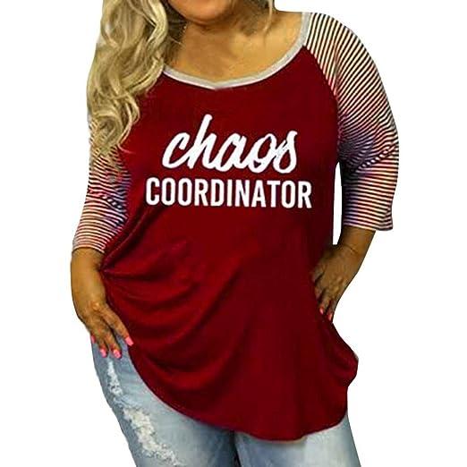 f642237f501ea Sannysis Plus Size Blouses for Women Stripe Blessed O-Neck Baseball T-Shirt  Half