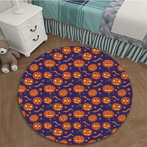 Printing Nordic Carpets 3D Printed Area Rugs Parlor Round Mat Rugs 1.96 Ft Diameter Halloween,Pumpkins Pattern Different Face Expressions Happy Angry Scary Puzzled,Orange Indigo -