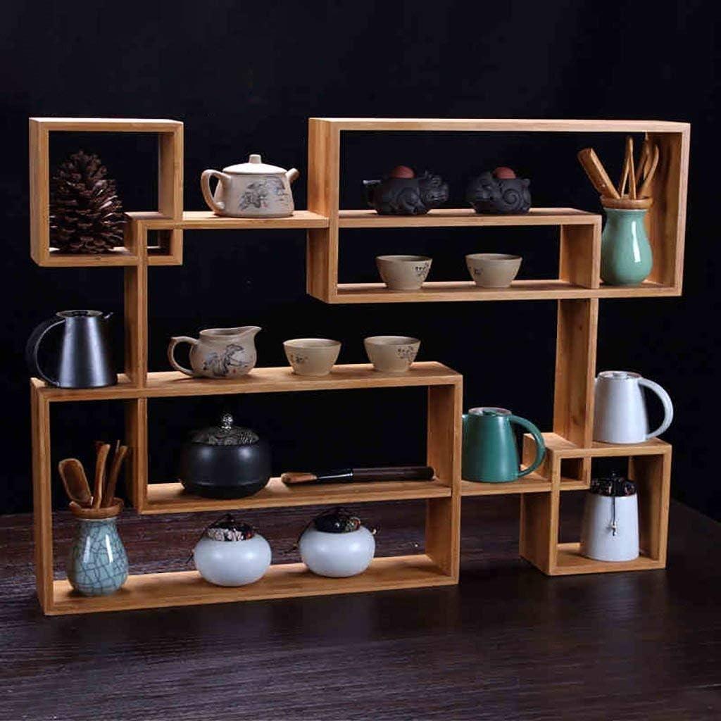 Zjnhl Home Decoration Display Rack/Bamboo Teapot Shelf Tea Set Japanese Style Small Bo Ancient Solid Wood Bracket Duobao Pavilion Base Combination Tea Stand (Color : Wood Color) (Color : Wood Color)