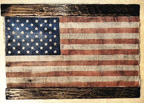 (American Flag made of worn out burlap and wood | Rustic decor | American flag wall decor | Handmade flag, Personalized gift)