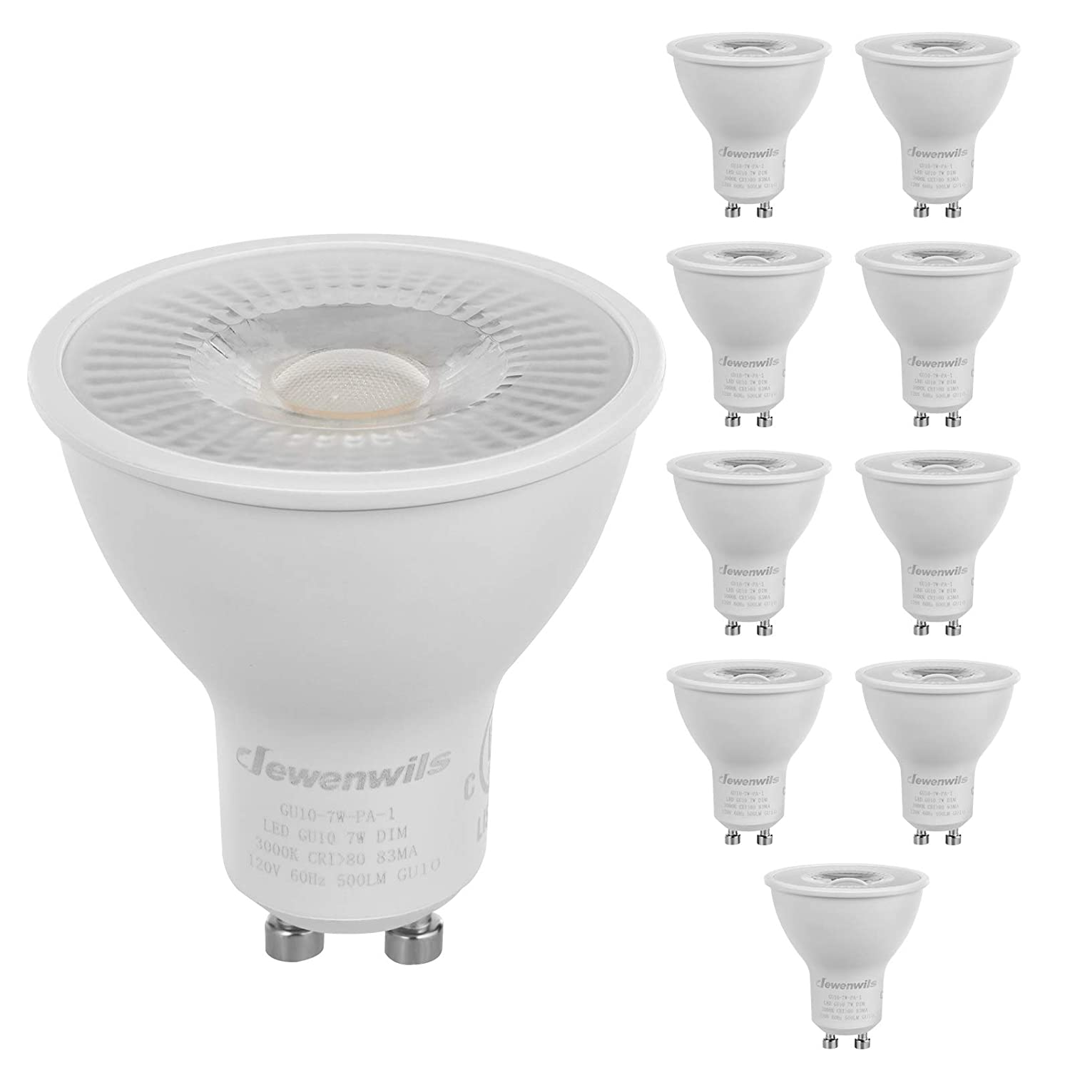 DEWENWILS 10-Pack GU10 LED Dimmable Bulb, 500LM, 3000K Warm White Track Light Bulb, 7W(50W Halogen Equivalent) LED Bulbs, UL Listed