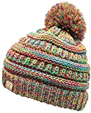 H-6847-816k.41 Girls Winter Hat Warm Knit Slouchy Kids Pom Beanie - Rainbow #11