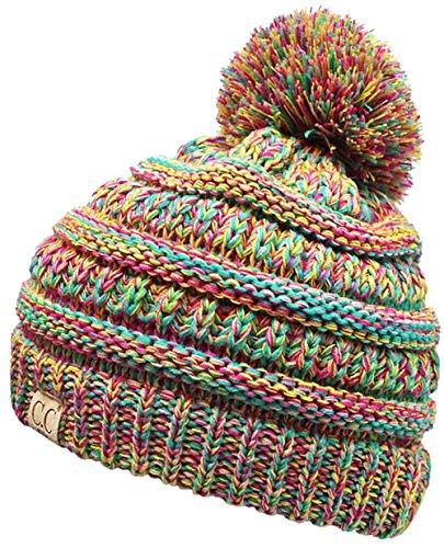 H-6847-816k.41 Childrens 4 Tone Pom Beanie - Rainbow (#11) (Rainbow Ski Boots)