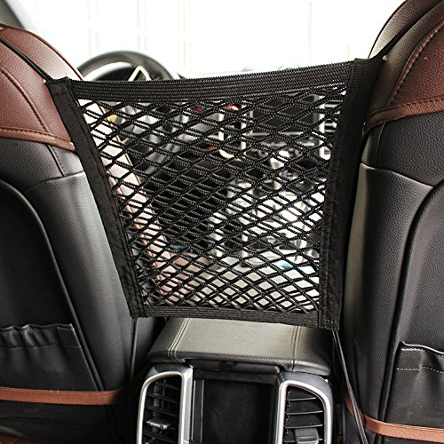 Mesh Car Barrier - MOTYYA Car Dog Barrier 2-Layer Auto Seat Net Organizer,Universal Stretchy Storage Fine Mesh Net Disturb Stopper With Hooks suv vehicle back seat divider from Children and Pets