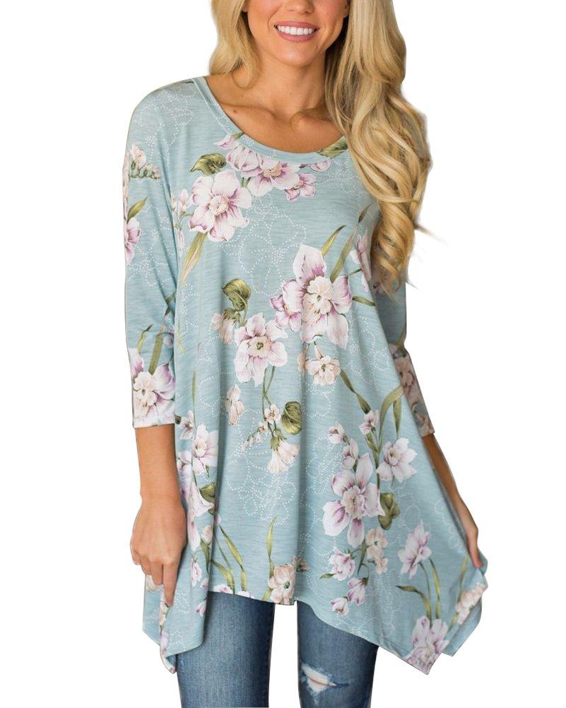 MIROL Women's Spring Floral Print 3/4 Sleeve Irregular Hem Asymmetrical Tunic Loose Long Blouse Tops (XX-Large, Blue)