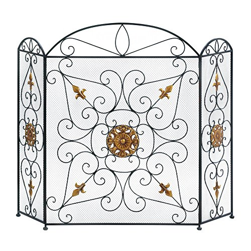 Thegood88 Splendor Fireplace Screen Iron Mesh & Embellished W/Golden Ornamen