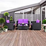 Cheap TANGKULA 4PC Patio Rattan Sofa Outdoor Garden Modern PE Wicker Rattan Sofa Conversation Furniture Set With Cushion (Purple)