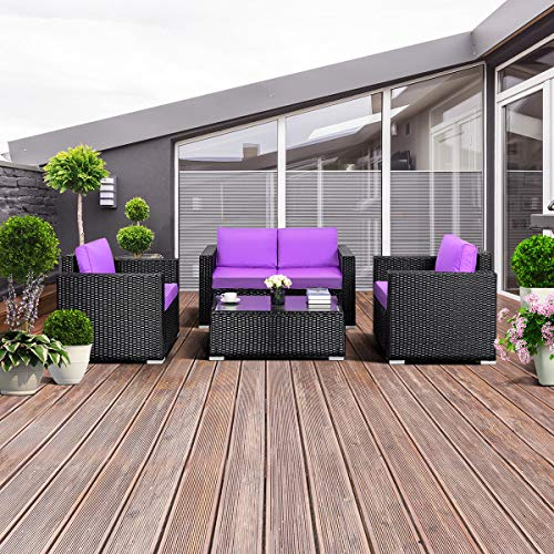 TANGKULA 4PC Patio Rattan Sofa Outdoor Garden Modern PE Wicker Rattan Sofa Conversation Furniture Set With Cushion (Purple)