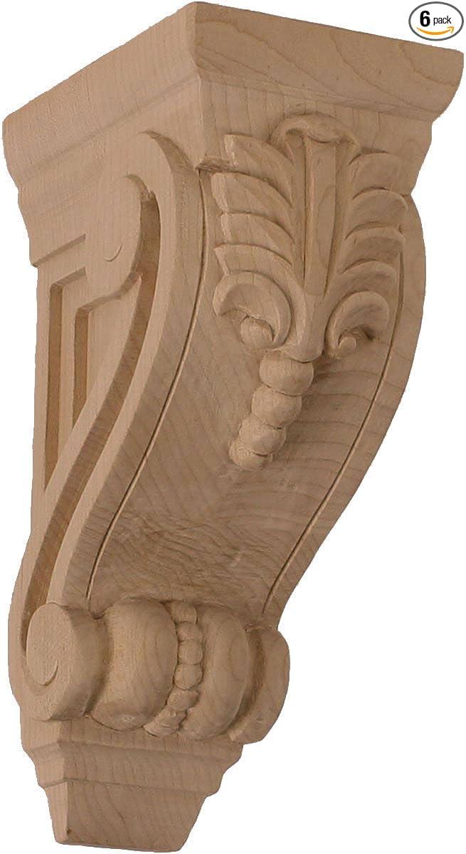 , Ekena Millwork CORW06X08X18ACGM-CASE-2 6 inch W x 7 1//2 inch D x 18 inch H Extra Large Acanthus Wood Corbel 2-Pack Mahogany
