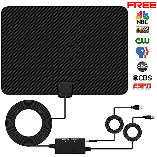 TV Antenna, Indoor Amplified Digtial HDTV Antenna 60 to 80 Mile Range 2018 Newest Advanced Type Switch Console Amplifier Signal Booster, USB Power Supply and 16.5FT High Performance Coax Cable (Amplified Indoor Hdtv Antenna)