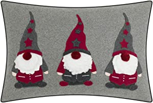JWH Christmas Santa Claus Accent Pillow Case Elf Applique Embroidery Cushion Cover Decorative Pillowcase Handmade Sham Home Bedroom Living Room Sofa Couch Chair Decor Gift 14 x 20 Inch Gray Red