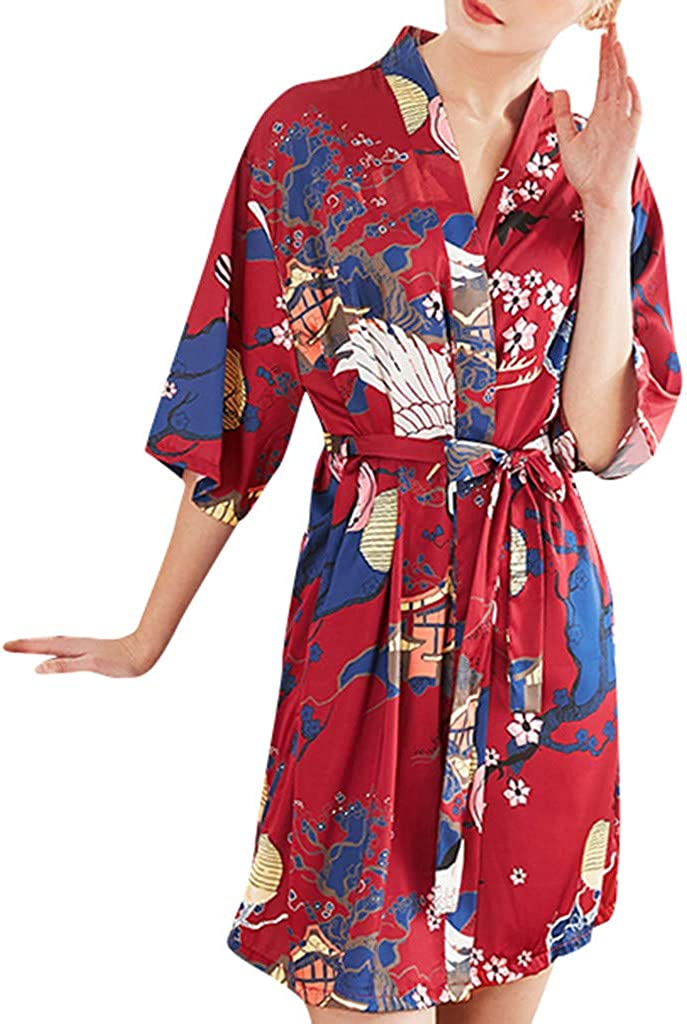ZYAPCNGN Women Robe Soft Kimono Robes Cotton Bathrobe Sleepwear Loungewear Short Soft Sleepwear Ladies Loungewear