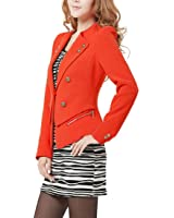 Woman Notched Lapel Long Sleeve Double-Breasted Front Casual Blazer