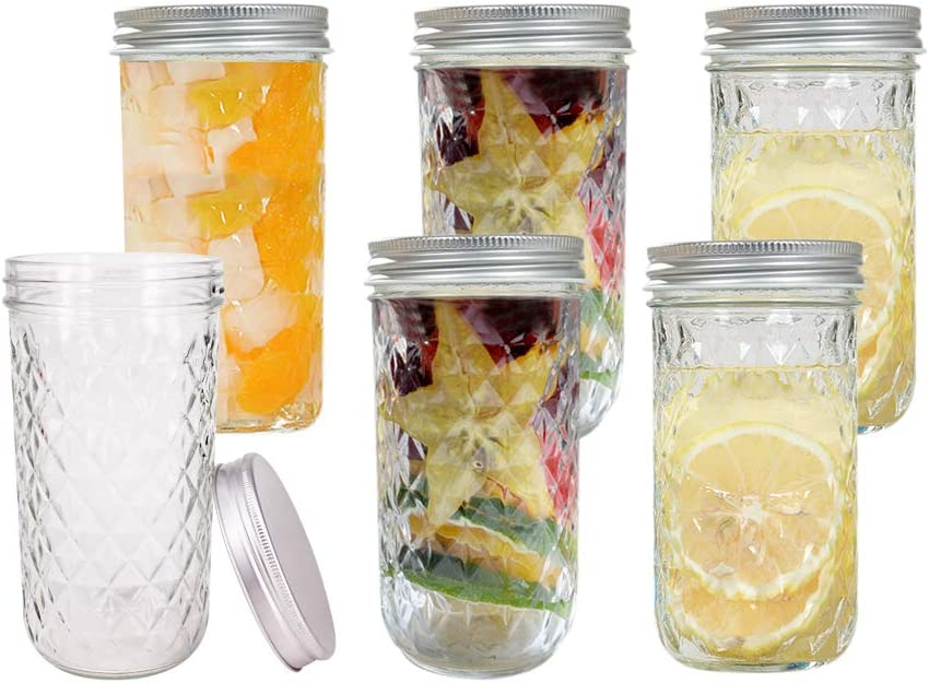 BPFY 6 Pack 20 oz Glass Mason Jars With Lids, Canning Jars for Jam, Honey, Baby Food, Candy, Cookie, Wedding Favor Decorating Jelly Jar, Candle Holder