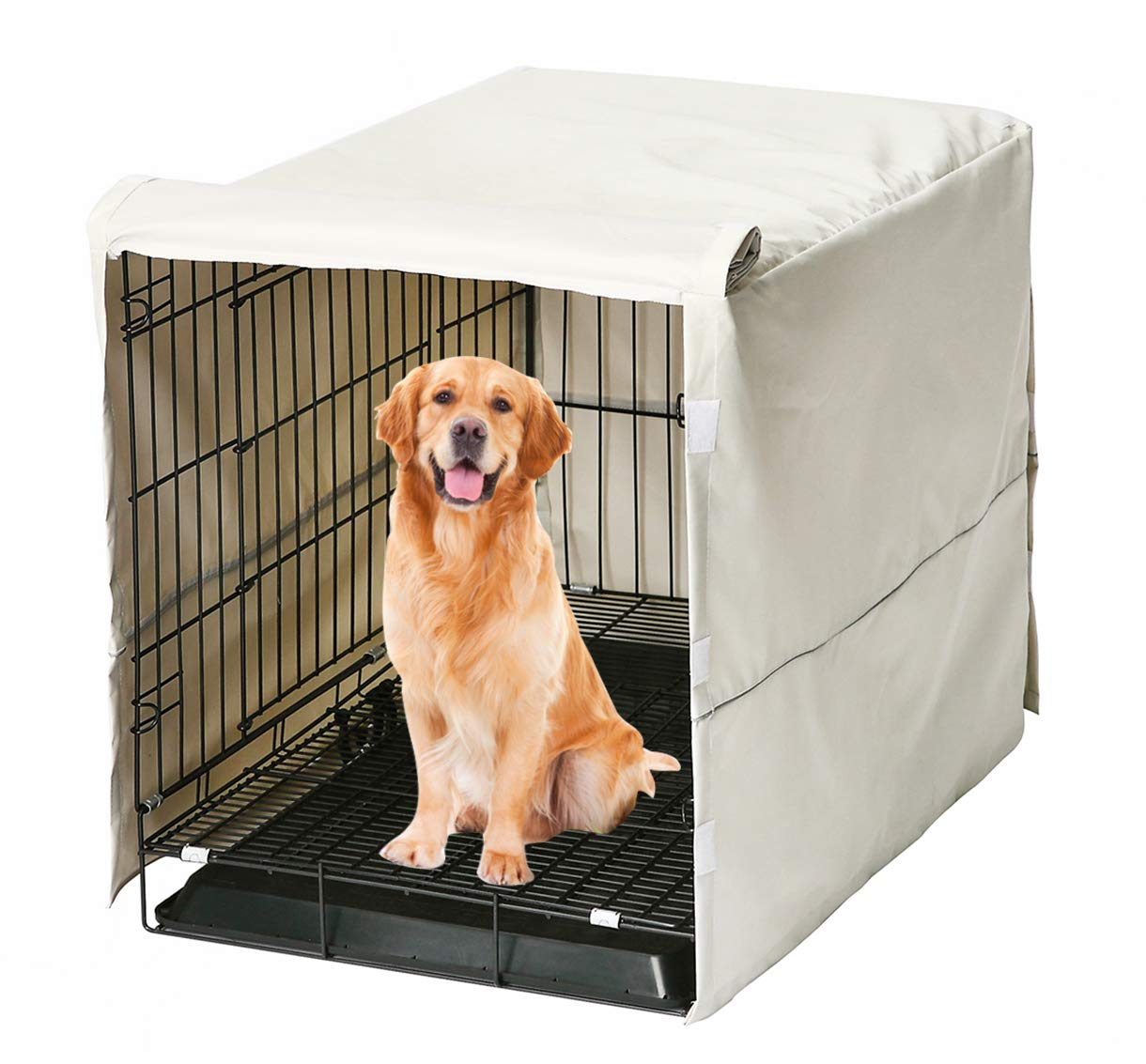 Morezi Dog Crate Cover for Wire Crates, Fits Most 30'' inch Dog Crates. Easy to Put On, Take Off, and Adjust - Cover only - Beige - Medium